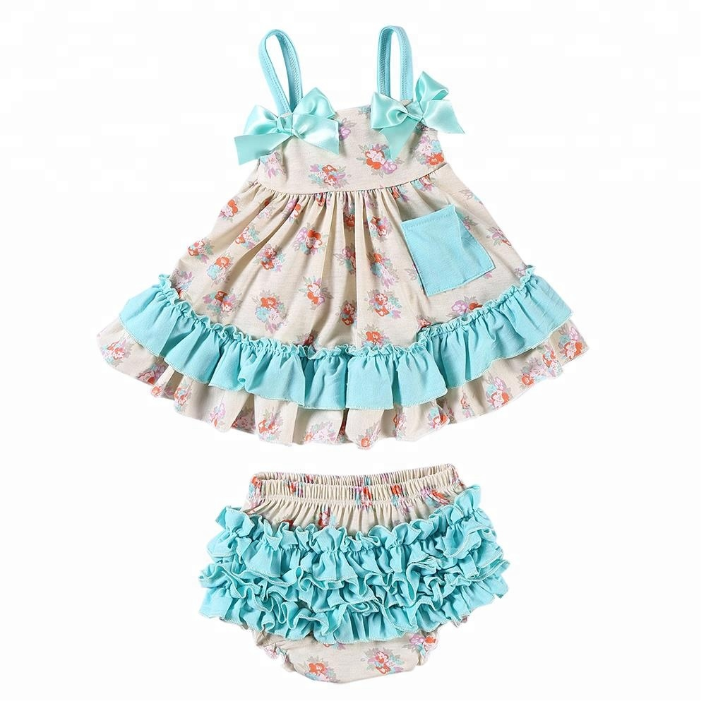 Wholesale adorable newborn baby  clothes floral print baby outfits swing sets for girls