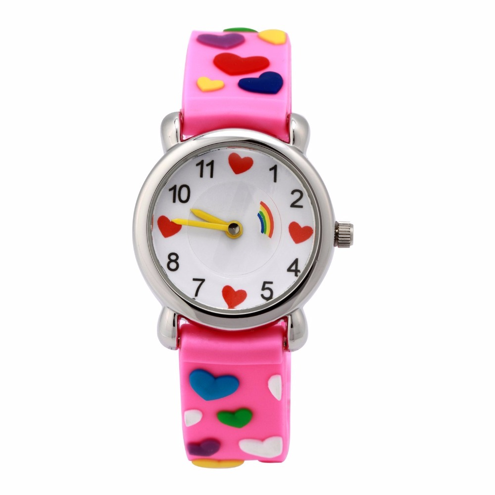 Fancy style girls 3D silicone strap kids watches for children watch