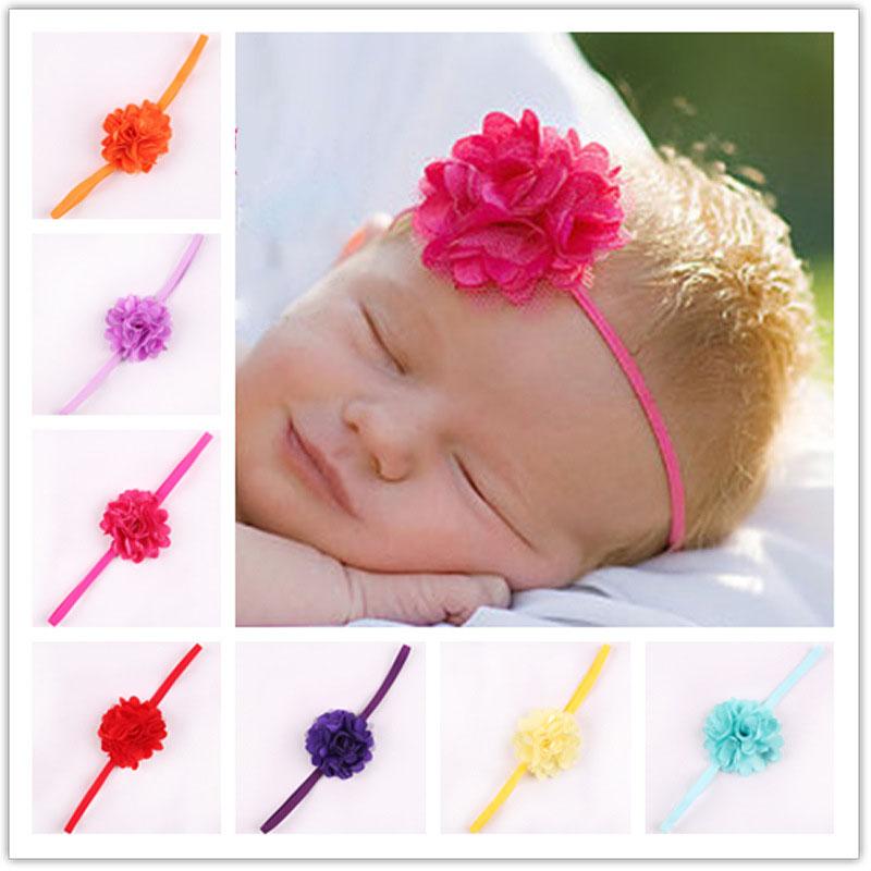 a7647bfc072 Get Quotations · Chiffon Flower Elastic Hair Bands Baby Girls Headband Kids  Girl Headwrap Infant Headbands Cute Hair Accessories