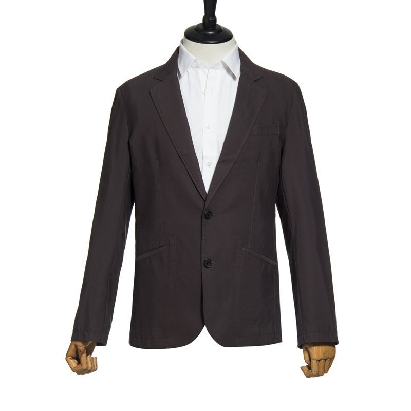 Abetteric Men Leisure 2 Button Notch Collar Solid-Colored Suit Coat Blazer