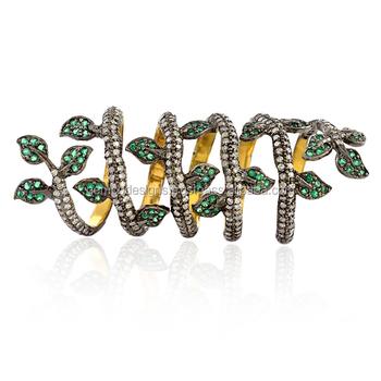 Real Emerald Gemstone White Diamond Leaf Shaped Long Ring 14k