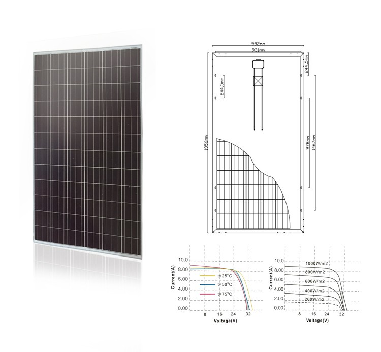 Poly 300w pv panel ground mount and system installation with full certificates