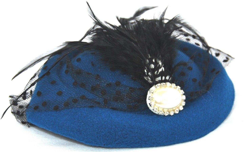 Miniature Pill Box Pillbox Hat Fascinator Multiple Color Options Royal Blue