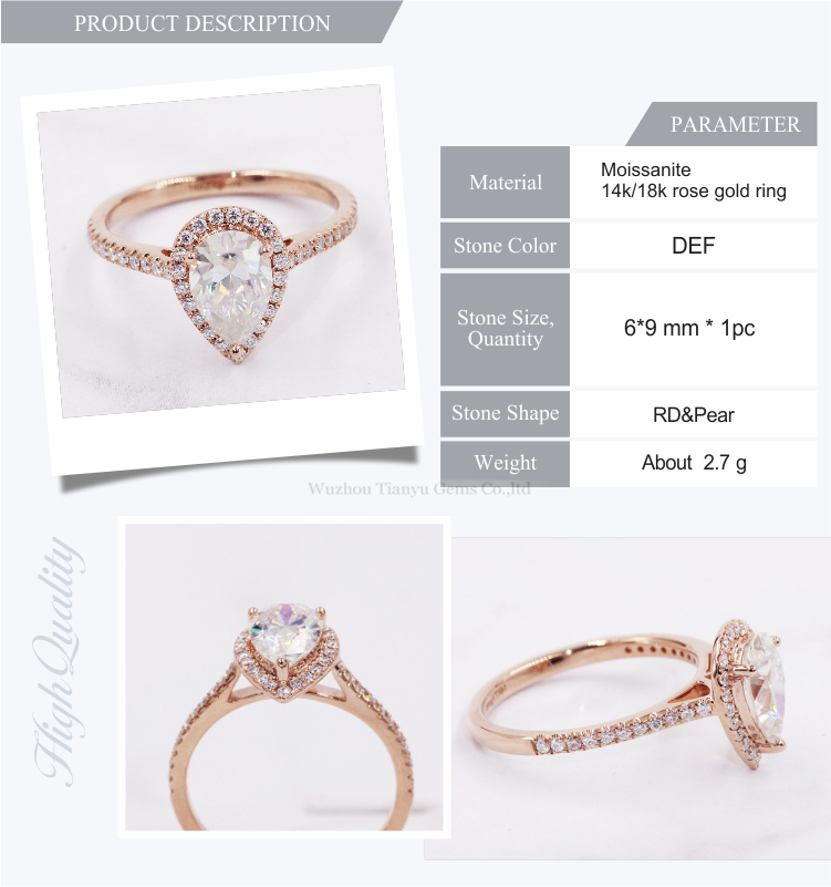 Tianyu Halo Design 14k 18k Real Rose Gold Women Lady Ring 1.5ct Pear Brilliant Cut Moissanite Diamond Ring