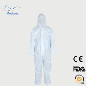 Personal Protection Equipment Disposable asbestos overalls Front Zipper Closure and Flap Storm