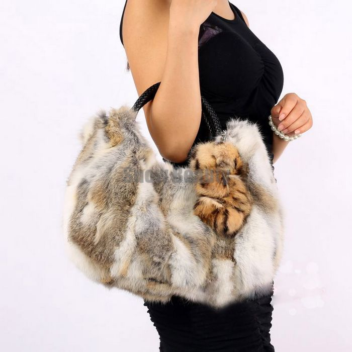 2015 new designer lady handbags genuine natural real rabbit fur bag for women with flower fashion female brown grey shuolder bag
