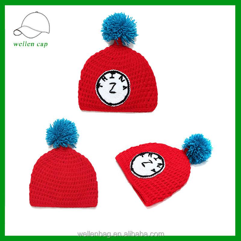 fd736efc797d2 Atacado chapéu de crochê artesanal crianças chapéu feito malha com pom pom  chapéu ...