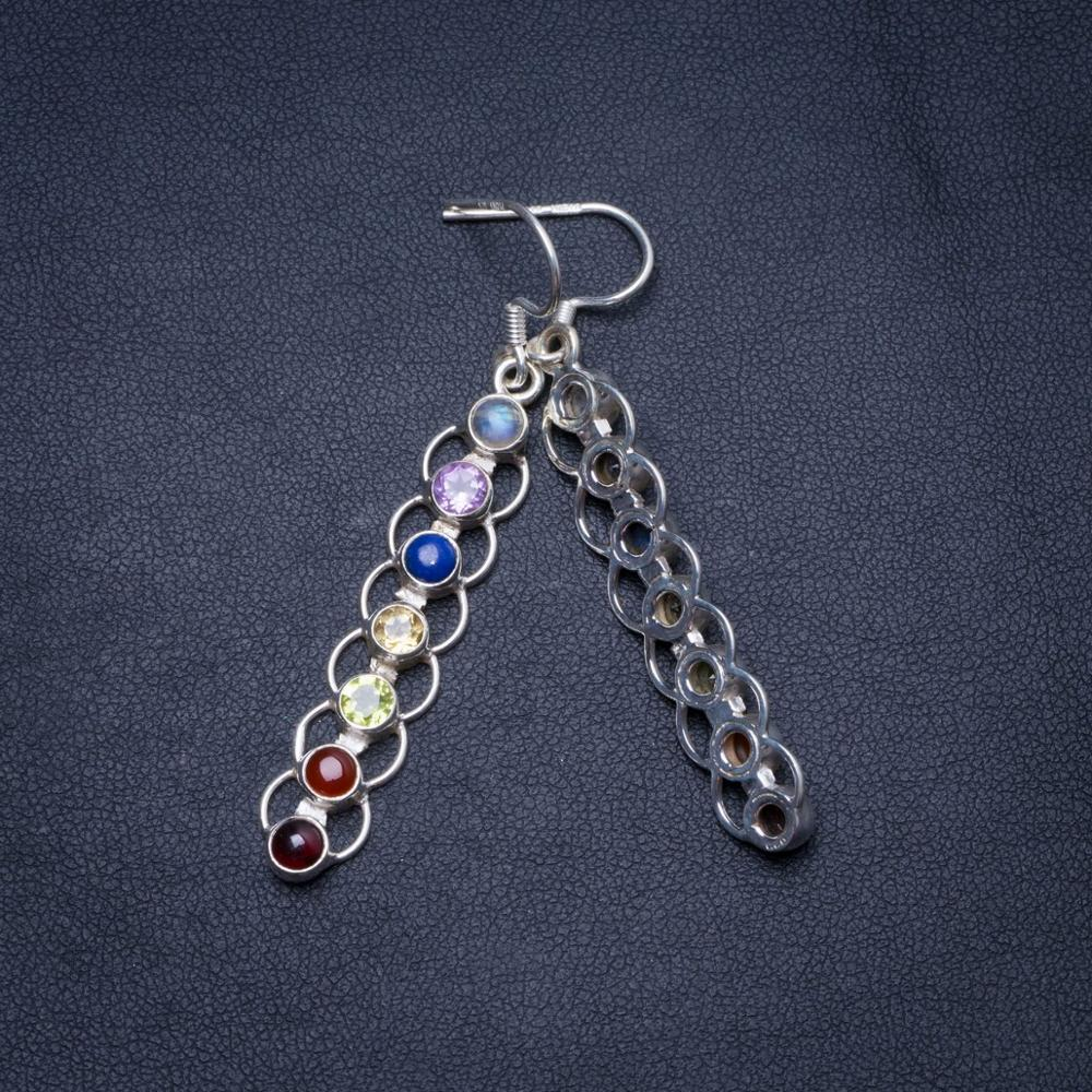 Wholesale Natural Carnelian,Amethyst,Peridot,Citrine,Lapis Lazuli and Moonstone 925 Silver Earrings 2.25""
