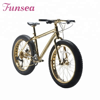 Guangzhou racer fatbike cycle manufacturer special design beach cruiser luxury gold big tire bikes snow bicycle 26'' fat bike