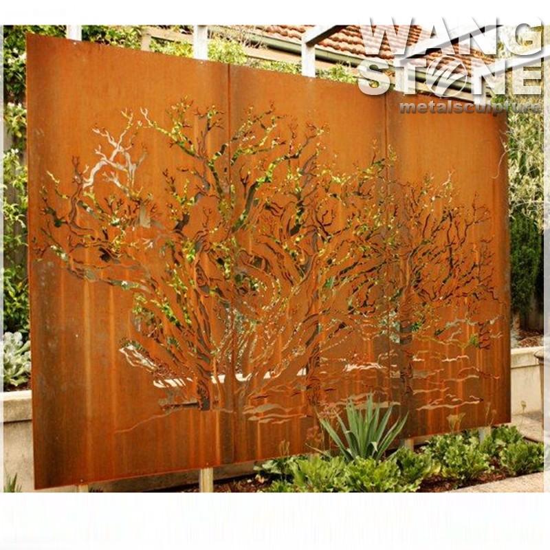 Laser cut decorative metal corten steel garden screen for Wooden garden screens design