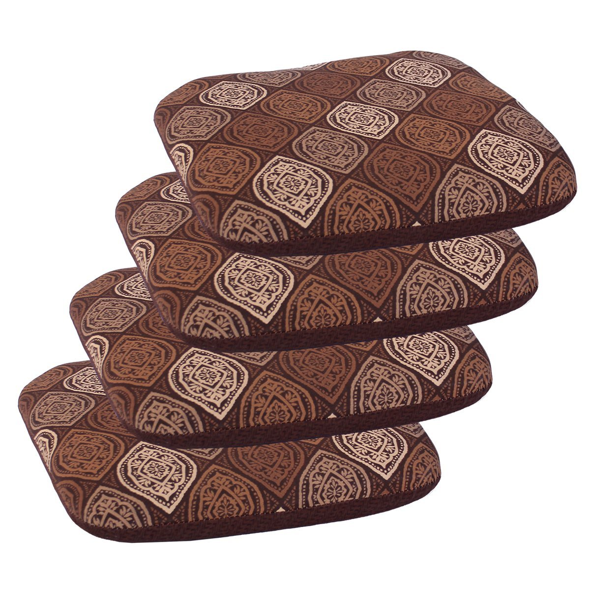 "Set of 4 Outdoor Seat Cushions 16"" x 17"" x 2"" in Polyester Fabric Davidson Brown by Comfort Classics Inc."