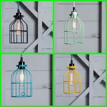 Metal Iron Wire Lamp Cage Pendant Lamp Squirrel Cage Lamp Shade ...