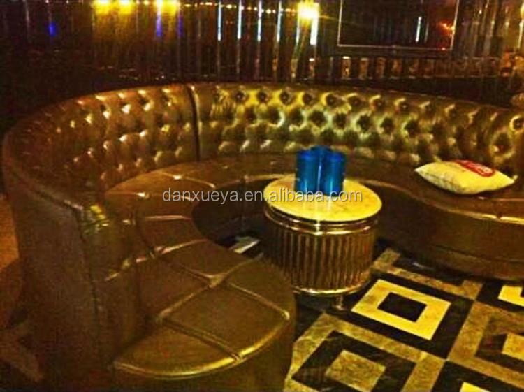 Ktv Bar Nightclub Furniture Luxury Tufted Semi Circle Leather Sofa