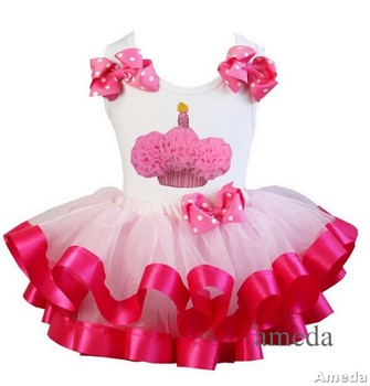 Girls Light Hot Pink Satin Trimmed Tutu with Rosettes Cupcake White Tank Top 1-7Y