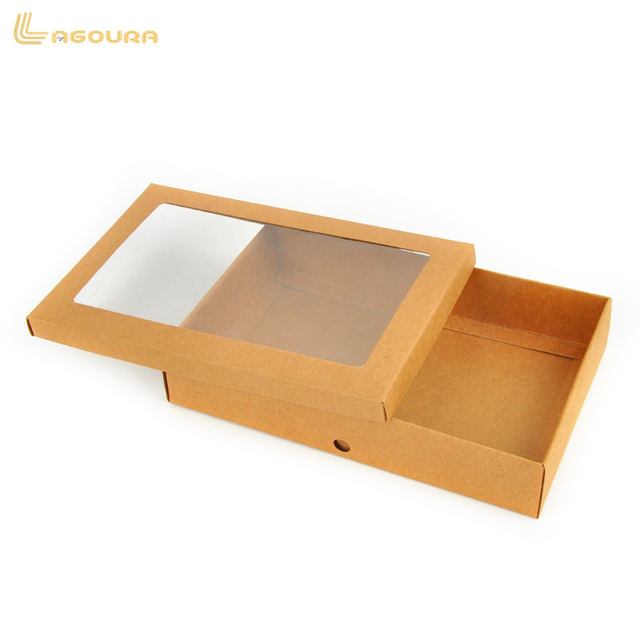 Factory OEM Service Transparent PVC Box, Kraft Paper Gift Packaging Box With PVC Window