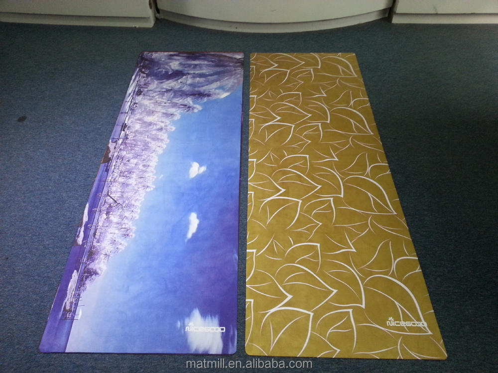 Microfiber Natural Rubber Custom Printed Yoga Mats Hot