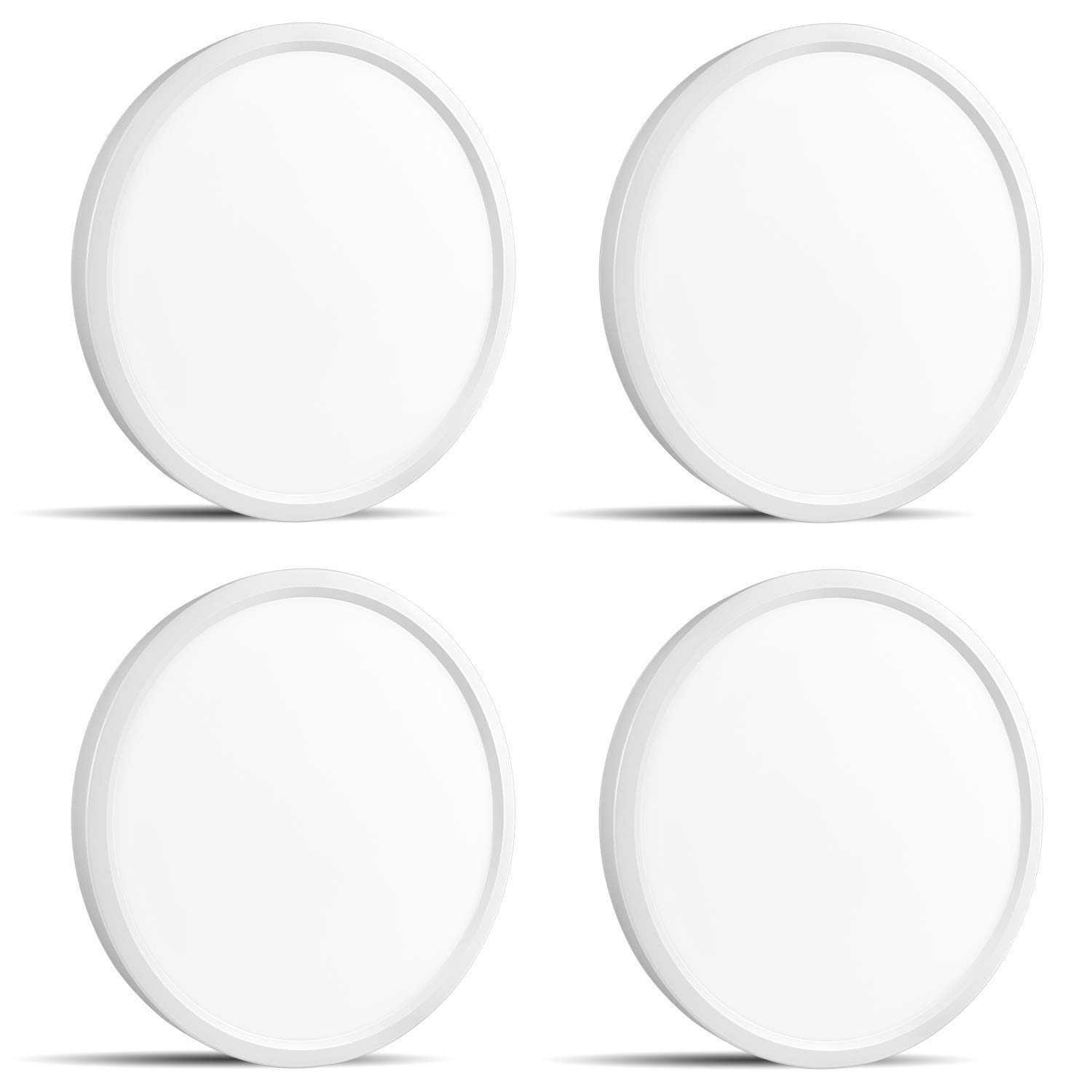 4-Pack 7 Inch LED Flush Mount Ceiling Light, Luxrite, 4000K (Cool White), 1000LM, 15W, White Finish, Dimmable, Surface Mount LED Ceiling Light, Wet Rated, Energy Star - Closet, Kitchen, and Bathroom