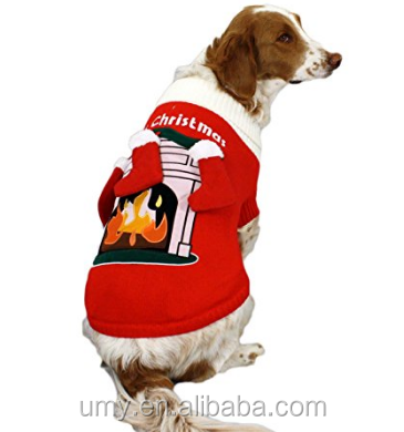 Fireplace Dog Sweater with 3D Stockings Knitting Christmas Dog Sweater XXXS To XXXL