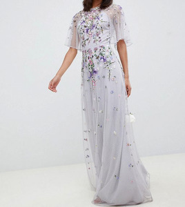 Ladies Wholesale Customized long sleeve jewelry embessed maxi dress
