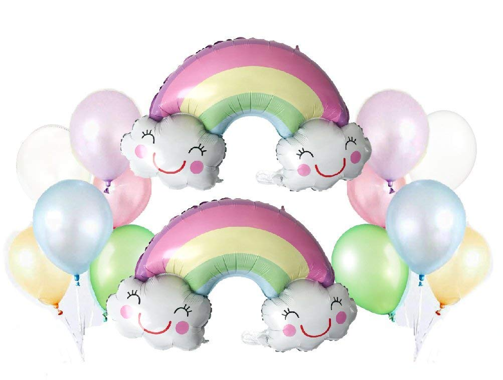 Party Balloon Pack: 2 PK Foil Pastel Rainbow Balloons + 12 ct - Assorted Pastel Latex Balloons | Includes: Curling Ribbons, Balloon Clips | Party Decorations