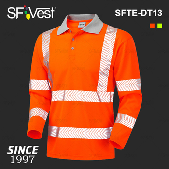 df33f2599 Fluorescent Orange Wholesale PPE Work Hi-vis Reflective Long Sleeve Mens  Stripe Polo Security High