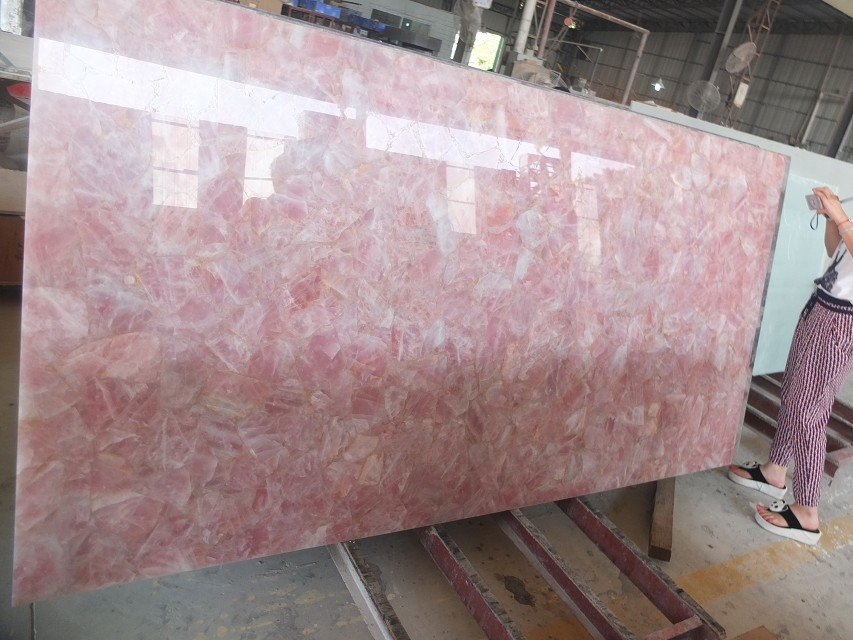 Luxury customized natural rose quartz stone countertop for Quartz countertop slab dimensions