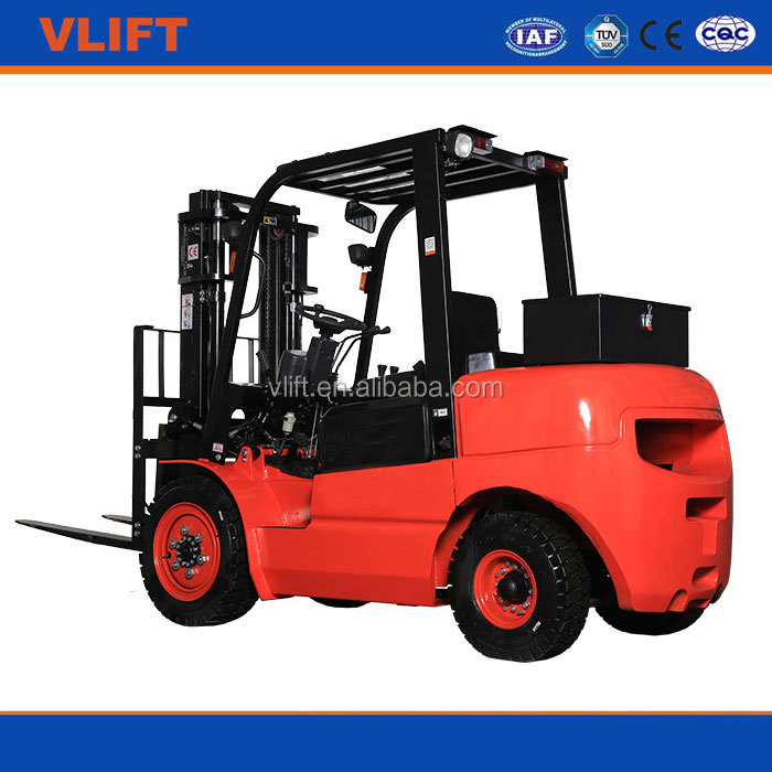 2 Ton 5 m Hydraulic Diesel Forklift Truck With 3 Stage Free Mast with Front Double Tires with Japanese Mitsubishi Engine