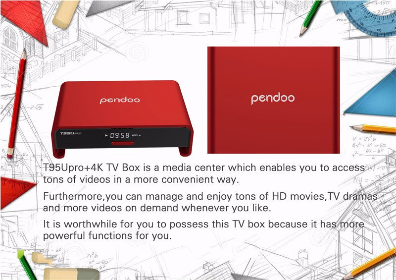 Pendoo T95U ProInstall gratis play store app google play down 2 + 16g Octa Core TV Box Android 6.0 amlogic S912 smart tv box android