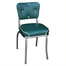 Seating Retro American diner 1950s Chrome Button Tufted Back Waterfall Seat Diner Dining Chair in Green restaurant chair