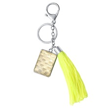 Wholesale Fashion Jewelry Factory Custom Silver Plating Yellow Tassels Reflective Keychain