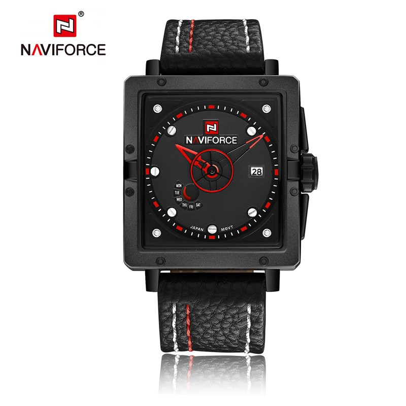 24b7c9ae5f5 Novo relógio NAVIFORCE masculinos montre Militar Leather Strap Data Relógio  Retângulo Moda Relógios Esportivos prova d