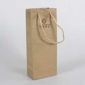 Hot Sale Factory Price Printed Brown Kraft Paper Wine Bags with Twist Paper Handles for Single Bottle Packaging