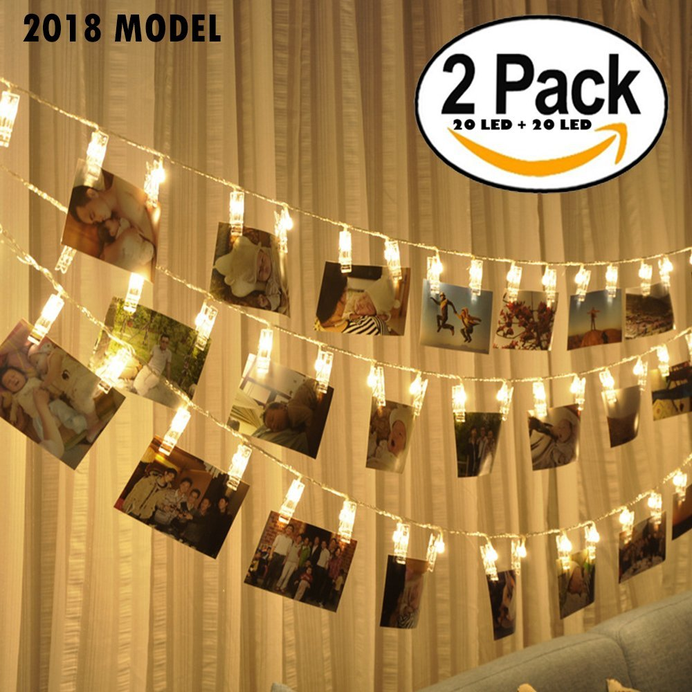 2 pack 20 LED Photo Clips String Lights, Battery Operated - Features Movable Photo Clips - Long Lasting Heavy Duty - Ideal For Hanging Pictures, Cards, Artwork, Decorations