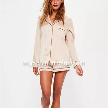 530156820 Satin Piped Buttoned Short Pyjama Set Long Sleeve Button Top With Shorts  Plain Piping Pajama Set