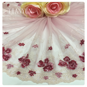 Single Border Pink Mesh Background Chantilly Embroidery Flower Lace