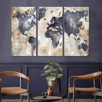 3 panel wall art set canvas print abstract world map canvas wall art picture framed