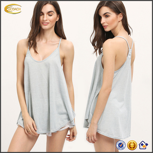 Ecoach summer casual women grey spaghetti strap asymmetrical pleated plain 100 cotton tank top
