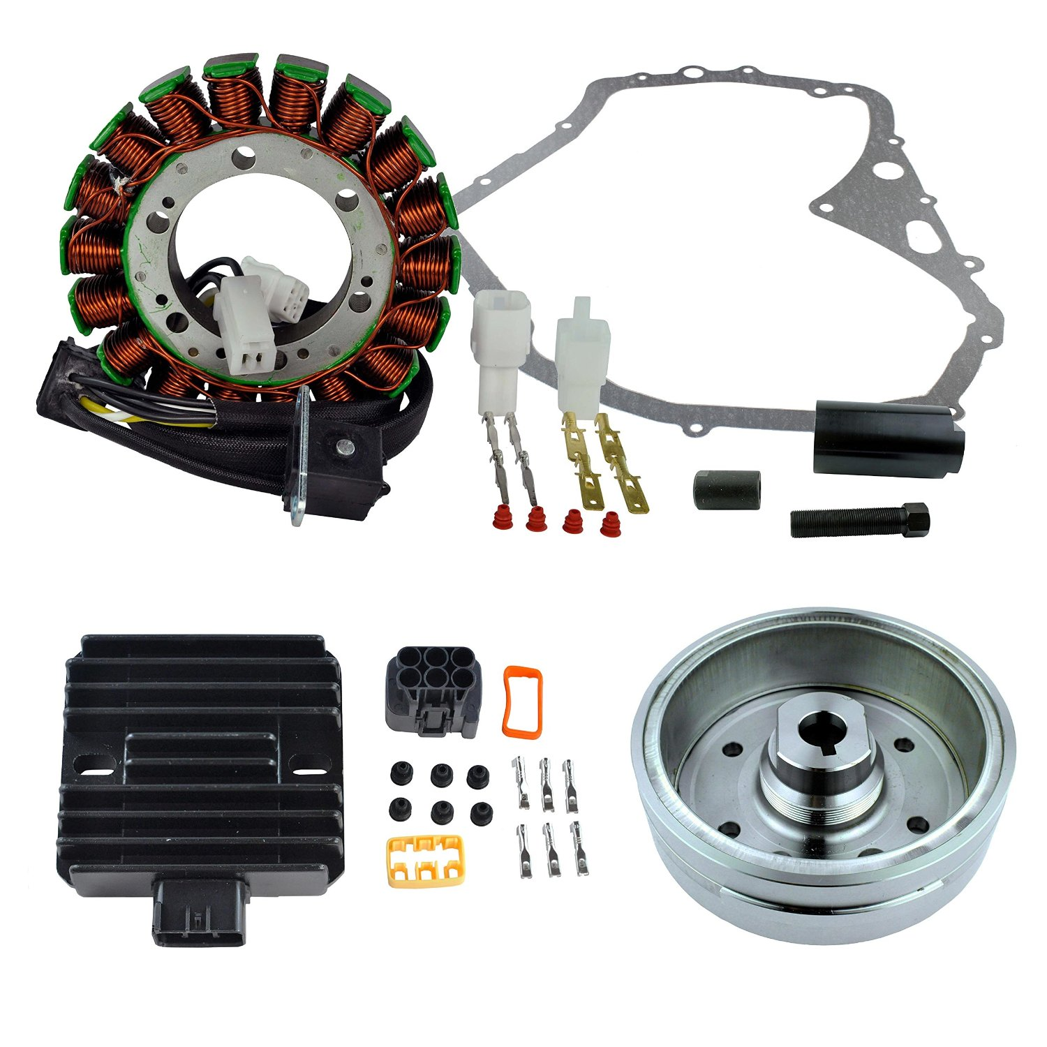 Kit Improved Flywheel + Puller + Stator + Voltage Regulator + Gasket For Suzuki LTF 400 Eiger 4x4 Manual 2002 2003 2004 2005 2006 2007