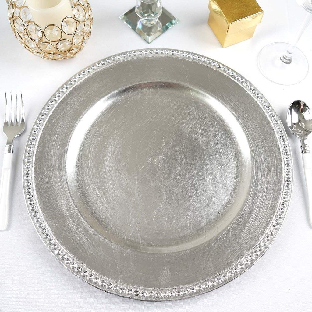 """Tableclothsfactory 13"""" Round Silver Crystal Beaded Acrylic Charger Plates Wedding Party Dinner Servers - Set of 6"""
