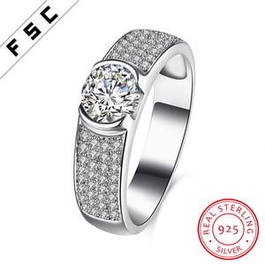 Classic White Gold Plated Sterling Silver Chunky Diamond Jewellery Wedding Ring Sets for Men