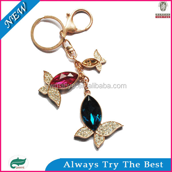 2014 new design navette glass stone like fish key chain