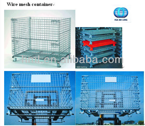 wire mesh storage container with bar runner