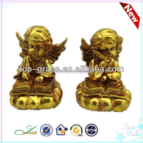 resin gold writing angel statue wholesale