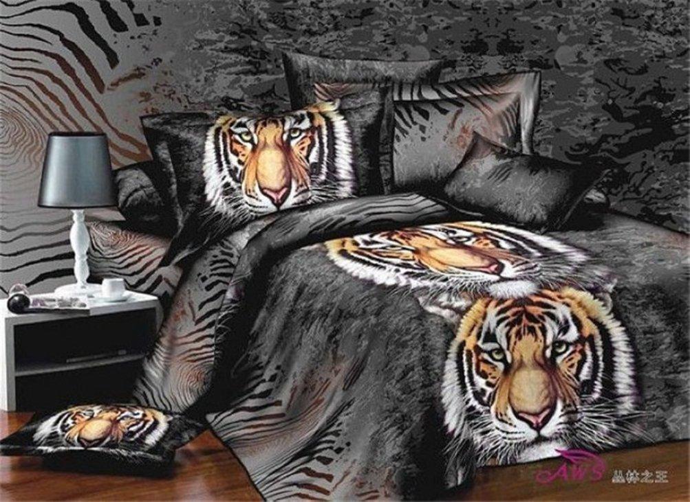 Bobbycool Animal King Tiger Head 100% Cotton Bed Set Bedding Set King Size Bedcover 3d Bedding Set Luxury Duvet Quilt Cover Sets