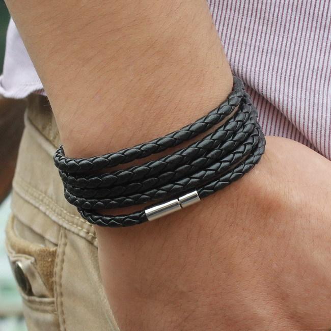 Новый стиль горячей ручной многослойная реальной кожаный браслет мода прилив мужской личности панк кожаный браслет Ou Meifeng