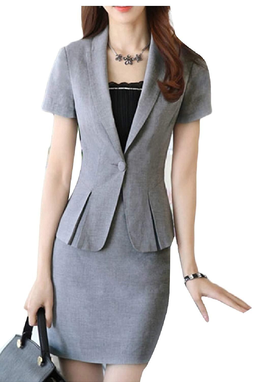 6a5a2d88ac5 Get Quotations · XQS Women s 2 Pieces Business Dress Skirt Suit Set Office  Lady Slim Fit Blazer and Skirt