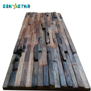 Nordic solid wood mosaic TV wall old boat wood mosaic wooden signboard hotel teahouse decoration mosaic