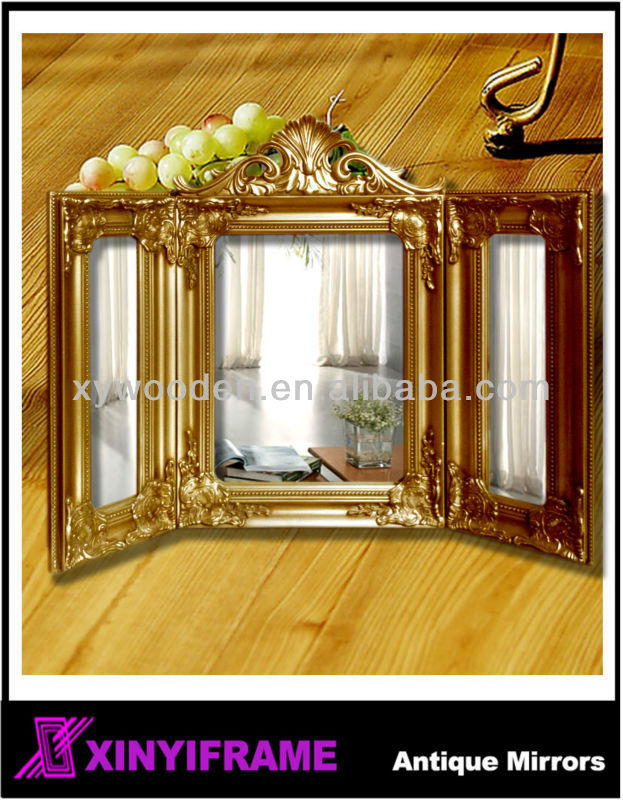 New Design Foldable Three Sided Wood Framed Table Standing Mirror