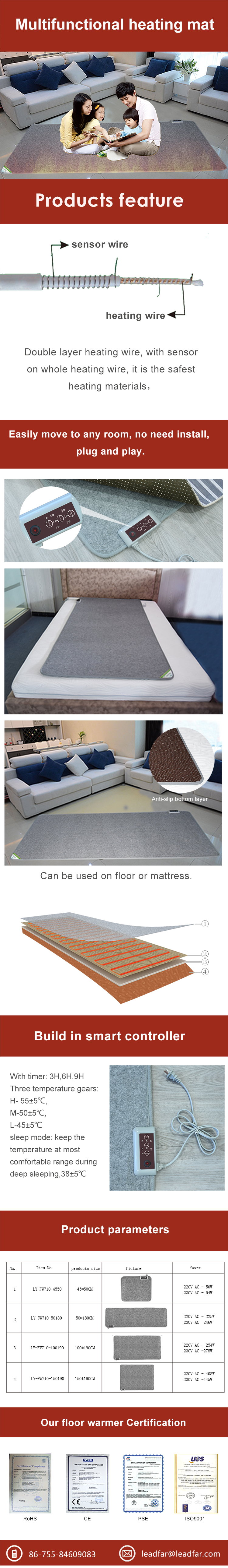 Popular Winter Electric Heat Pack For Feet and Hand Warmer From Shenzhen Leadfar Factory 220V Heated Floor and Bed Mat