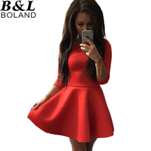 S-XL New Fashion Summer and Spring Womens O-Neck 3/4 Sleeve Slim Sexy Clubwear Party Tutu Dress 3Colors  vestidos #HX007